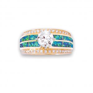 Maverick's - Diamond 14K Gold Ring With Opal Inlay