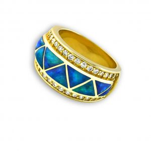 Maverick's - Opal, Diamond, 14K Gold Ring