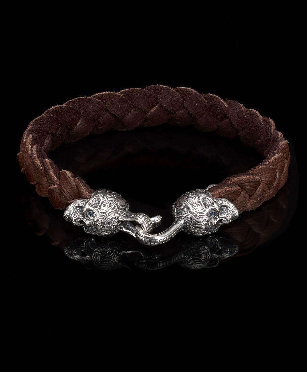 William Henry Braided Leather Buccaneer Bracelet With Engraved Skulls