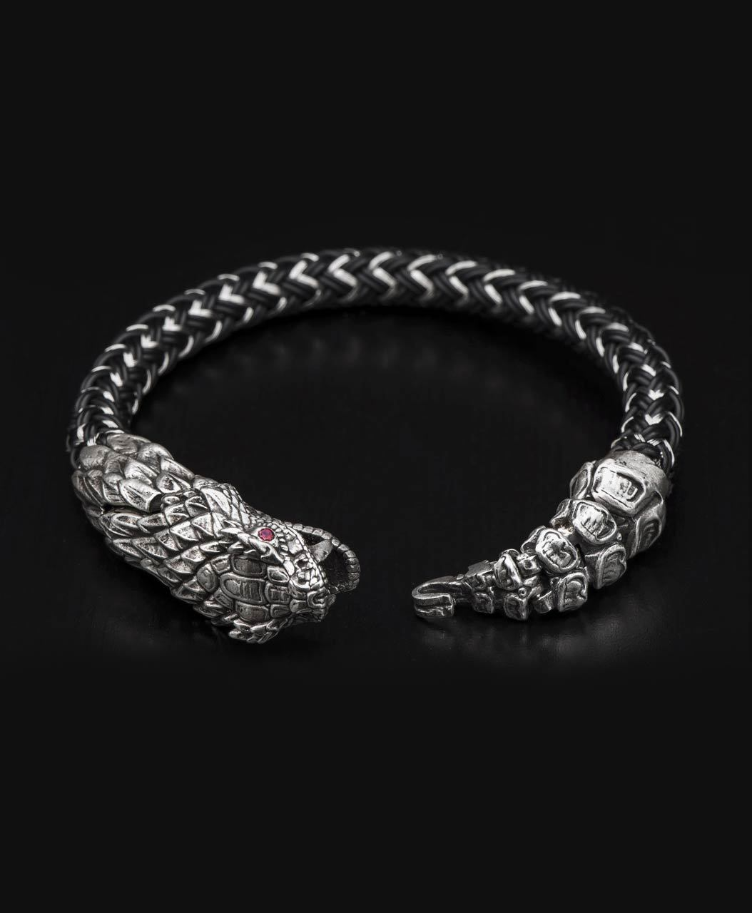 William Henry Full Circle Sterling Silver Snake Bracelet