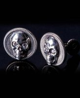William Henry Sterling Silver Skull Cufflinks White Topaz Eyes