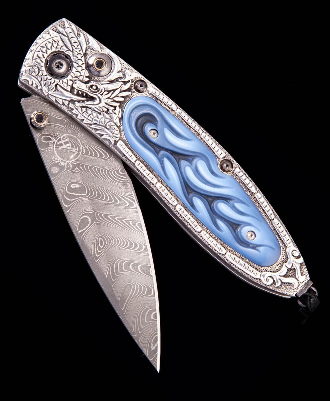William Henry Monarch Dragon Fire Carved Agate Pocket Knife