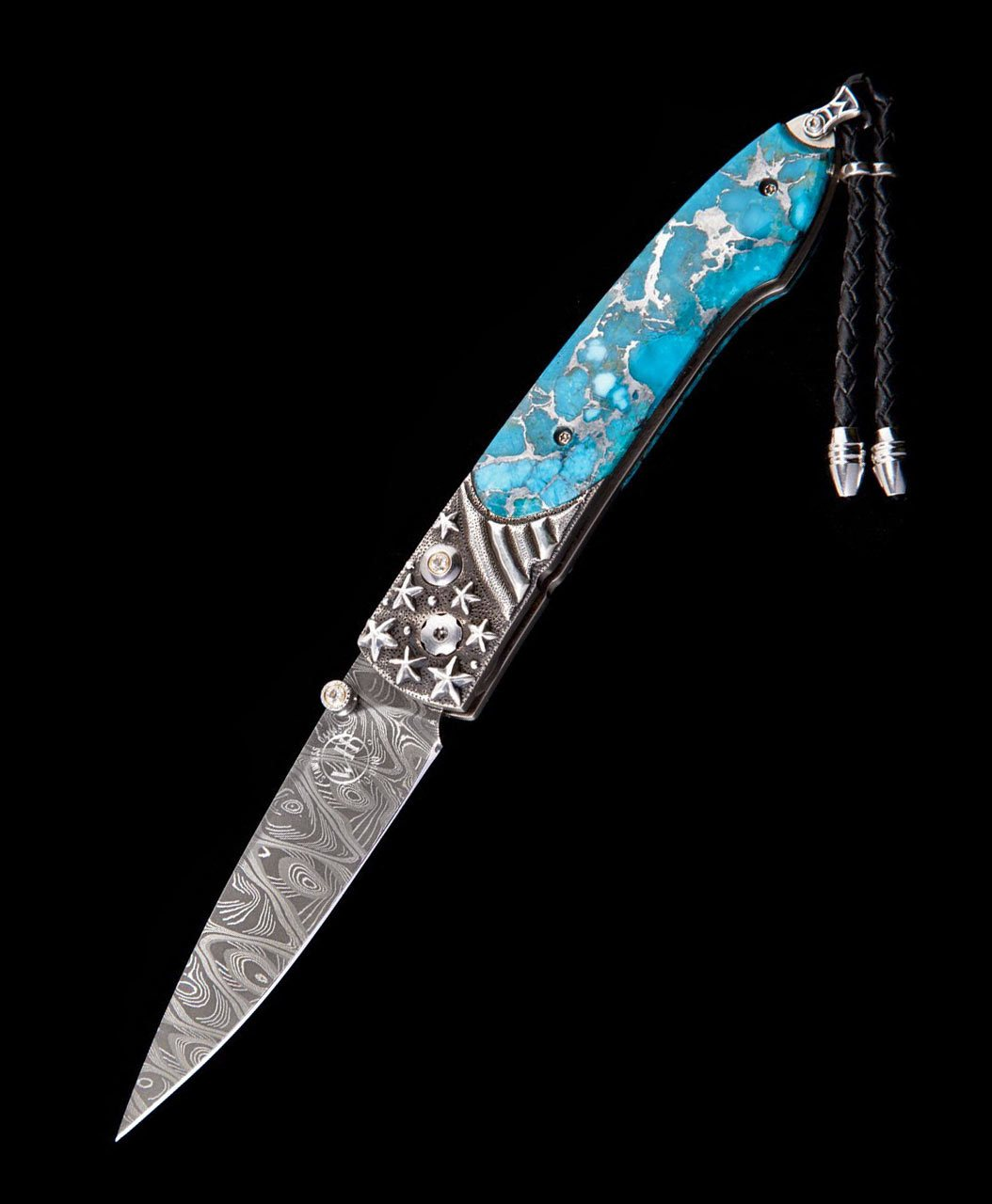 William Henry - Lancet Stars & Stripes - Damascus, Turquoise, Topaz