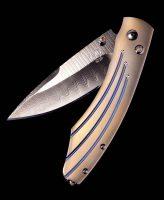 William Henry Spearpoint Burns Titanium, Damascus Pocket Knife