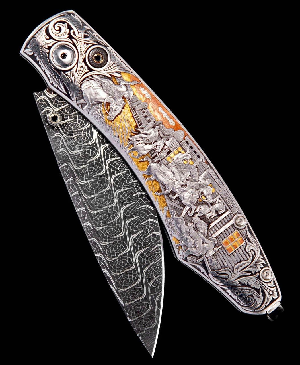 William Henry Spearpoint Cowboys & Indians Engraved One-of-a-Kind