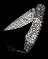 William Henry Spearpoint Inferno Damascus, Sterling Silver Pocket Knife