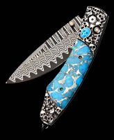 William Henry Spearpoint Jerome Silver and Turquoise, Wave Damascus Steel